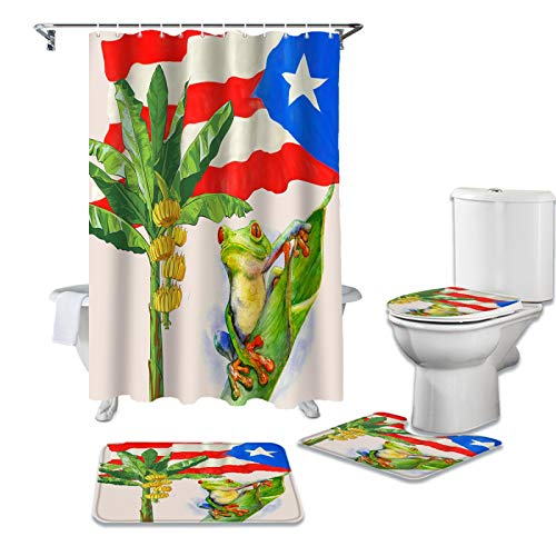 BANLV Planta Hoja de plátano Bandera de Puerto Rico Juego de Cortina de Ducha de Rana Alfombra Antideslizante Cubierta de Inodoro y Alfombra de baño Cubierta de Cortina de baño