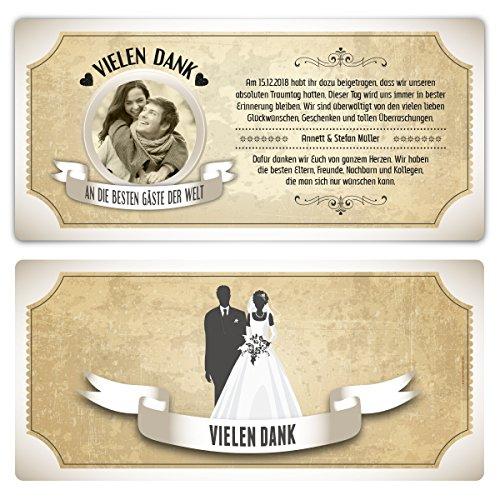 30 x Hochzeit Danksagungskarten Dankeskarten individuell - Vintage Brautpaar in Weiß