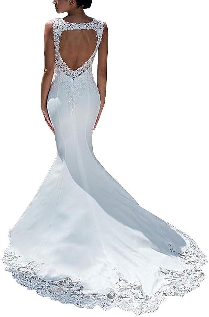 Melisa Satin Lace V Neck 3/4 Sleeve Boho Bridal Ball Gown Princess Sweep Train Elegant Wedding Dresses Plus Size