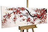 Kunstloft® Cuadro acrílico 'Cherrytree Alley' 150x50cm | Original Pintura XXL Pintado a Mano en Lienzo | Cerezo en Flor árbol Rojo Flores | Mural acrílico de Arte Moderno en una Pieza con Marco