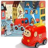 Nene Toys - Puzzle Infantil de Madera + Coche de Juguete para Niños y Niñas de 2 3 4 años - Juego de Rompecabezas Educativo Que Desarrolla Capacidades Cognitivas en Etapa Preescolar [Bombero]