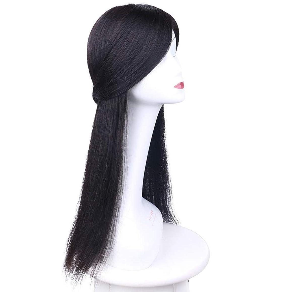 シャッター豊富ウミウシHOHYLLYA 目に見えない手織りのリアルヘアウィッグロングストレートヘアウィッグ女性用ウィッグ (色 : Natural black, サイズ : (hand woven) 50cm)