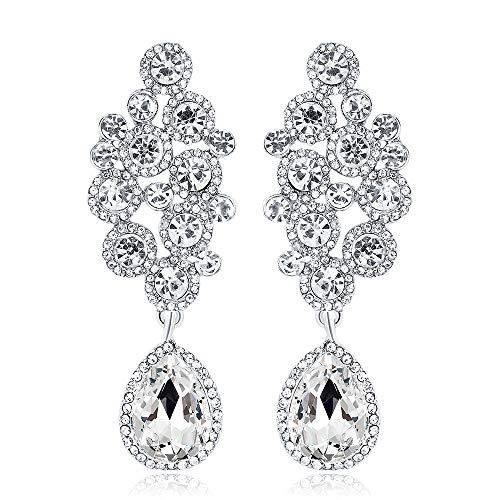 Boucles d  oreilles longues brillantes et brillantes, boucles d  oreilles en diamant avec gouttes pour femmes glamour, vous rendent plus sexy en blanc