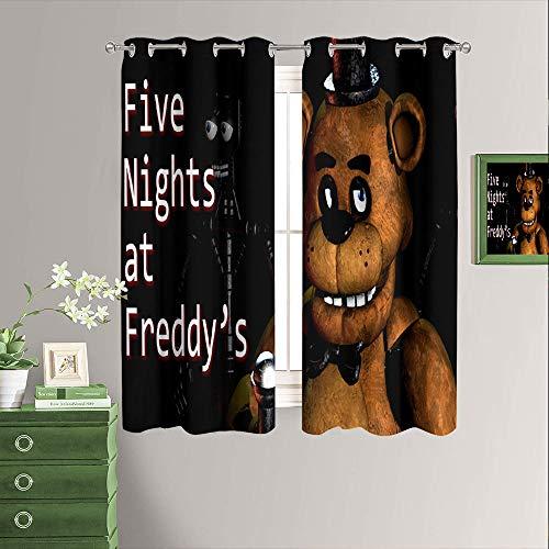 Five Nights at Freddy's - Cortinas opacas con aislamiento térmico y estampado de juego de terror para oscurecer la habitación, cortinas opacas para sala de estar, paneles de 163 x 163 cm