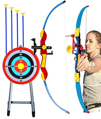 "Toy Bow & Arrow Archery for Kids 32"" with Target & Quiver, Suction Arrow 22"", Big Target Practice 16"" with Stand, Pretend Play, Safe Children Game Set"