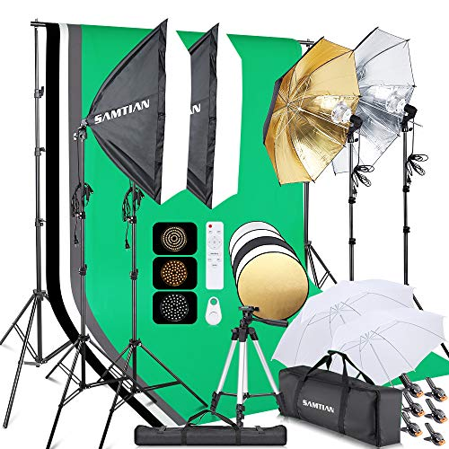 SAMTIAN Softbox Set 2.8 x3M Hintergrund Fotostudio mit 3-Farben-Regenschirmen Ständer Telefon-Stativ-Fernbedienung Dauerlicht Set für Fotografie/Video/Produkt Porträt