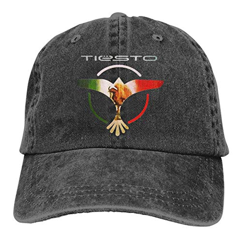 Yuanmeiju Cowboy Hat Dj Tiesto Logo Adult Men and Women Casual Sports Baseball Cap 3D Printed Cap Black