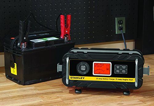 STANLEY BC25BS Fully Automatic 25 Amp 12V Bench Battery Charger/Maintainer with 75A Engine Start, Alternator Check, Cable Clamps