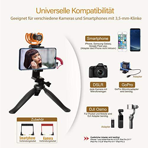 Pixel M80 Kamera Mikrofon mit 3-m-Verlängerungskabel, Shotgun Mikrofon, Professionelles Mikrofon für Kamera, iPhone, Android Smartphone, Canon, Nikon DSLR (Adapter des iPhone Nicht Inklusiv)