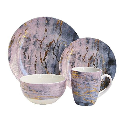American Atelier Marble 16 Piece Round Dinnerware Set, 10.5'' x 10.5', Purple/Gold