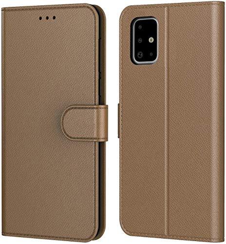 AURSTORE Handyhülle für Samsung Galaxy A51 Hülle, Premium PU Leder Schutzhülle Abdeckung, Magnetverschluss,Tasche Leder Flip Case Brieftasche Etui für (Samsung A51, Braun Book)
