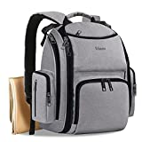 Diaper Bag Backpack, Multifunction Waterproof Travel Baby Nappy Changing Bag for Dad Mom with Insulated Pockets, Changing Pad, Storller Straps, Mancro Maternity Baby Bag for Boys Girls, Grey
