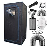 SAMTRONIC Indoor Plant Grow Tent Complete Kit, Hydroponics Tent System with 4' Inline Fan + Carbon Filter + Ducting Combos + Timer + Hangers (36' x 36' x72')