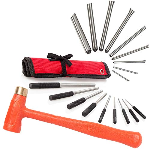 TuffMan Tools Roll Pin Punch Set & 1.5 lb Dead Blow Hammer, Great for Gunsmiths, Gun Building, Handymen & Watchmakers, Use to Remove Pins on Cars & Boats