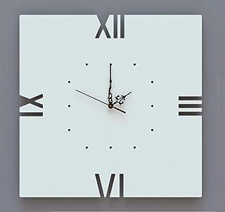 Orologio da parete Grande Design Quadrato Minimal Bianco Artigianale
