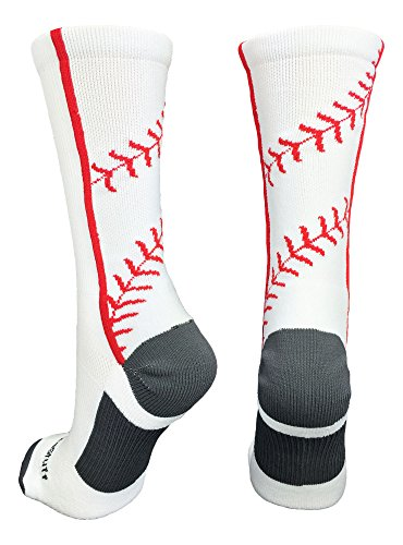 MadSportsStuff Baseball Socks with Stitches in Crew Length (White/Red, Medium)