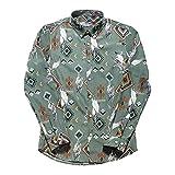 Camisas de Vestir Florales para Hombre Camisas de Manga Larga con Botones Estampados Casuales Slim Fit Camisa de Moda Retro étnica XL
