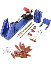 Pocket Hole Schroef Jig Kit, Houtbewerking Joint Tool Clamping Pocket Hole Jig met Toggle Clamp en Step Drill Bit, Boorgeleider Hoek Tool Locator Tool