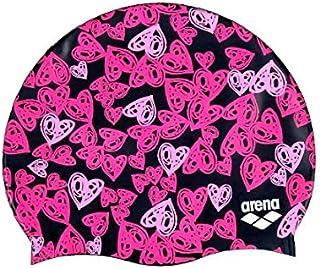 Arena Hearts - Gorra de natación, Color Negro y Rosa