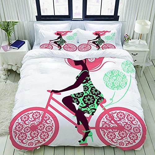 7788 Juego de ropa de cama con cierre de cremallera – Silhouette Of Beautiful Girl On Bicycle – Funda de edredón de microfibra cepillada con fundas de almohada – King (230 x 220 cm)