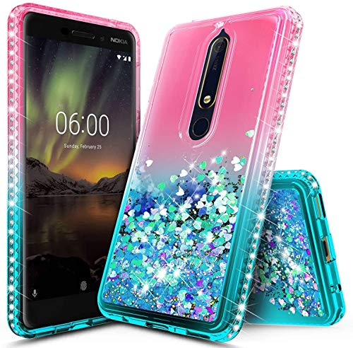 NZND Case for Nokia 6.1   Nokia 6 2018, Sparkle Glitter Flowing Liquid Floating Quicksand with Bling Diamond, Durable Women Girls Cute Case Cover (Pink Aqua)