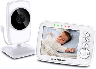 TOPERSUN Vigilabebés Inalámbrico Monitor de Bebé Inteligente con Pantalla LCD 3.2 y Cámara con Visión Nocturna Comunicación Bidireccional
