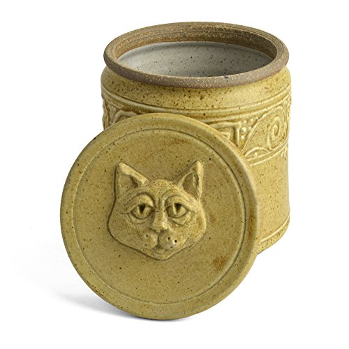 Best Buy! The Potters, LTD Cat Treat Jar, Spicy Mustard