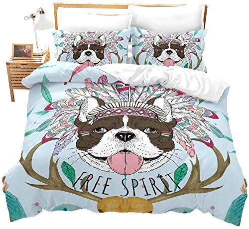 Zooseso 3d Family Bedding Set ( Single size 135 x 200 cm ) colorful cute animal pug dog antlers For Kids Cartoon Printed Bed Cover Boys Duvet Cover Bedclothes + 2 Pieces Pillowcases Duvet Set Gift f