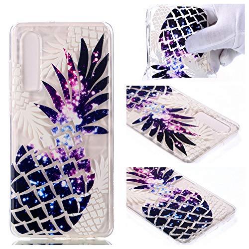 Nadoli Durchsichtige Schutzhülle für Huawei P30,Lila Ananas Rautenmuster Silikon TPU Transparent Ultra Dünn Stoßfes Kratzfest Weich Back Handyhülle Cover für Huawei P30