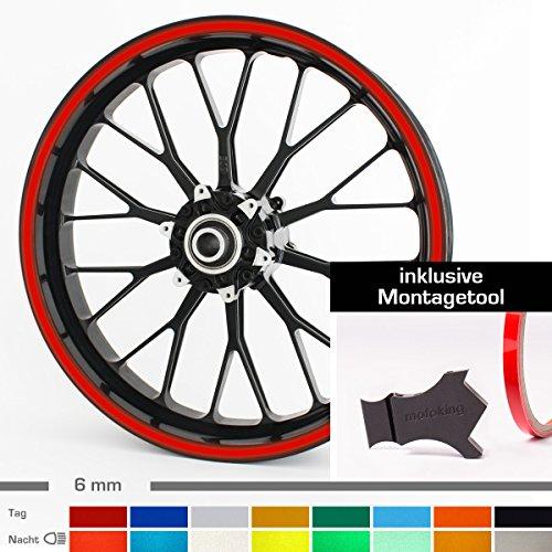 """Motoking Felgenrandaufkleber mit Montagetool für Ihr Motorrad in ROT REFLEKTIEREND / 6 mm/für 10\"""" bis 25\"""""""
