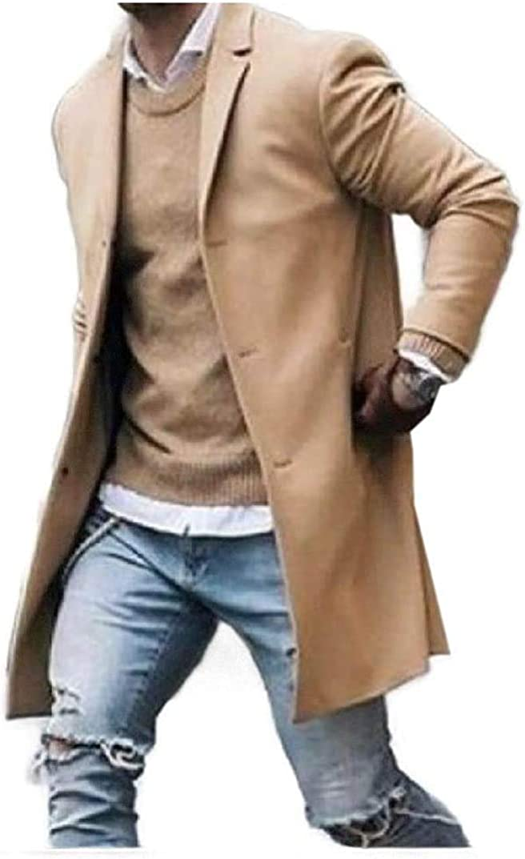Hhxgcfgyd Men Wool Blend Warm Quilted Lined Windbreaker Long Jacket Pea Coat