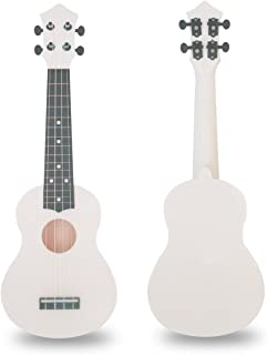 21 Inch Ukulele Soprano Hawaiian Guitar Plastic Guitar for Gift Ukulele (White)