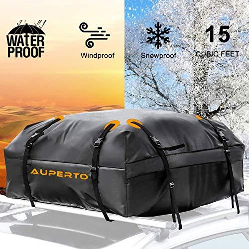 AUPERTO Auto Dachbox 20 Kubikfuß Faltbare Dachkoffer Aufbewahrungsbox Wasserdicht Dachtasche Dachgepäckträger Tasche Aufbewahrungsbox für Reisen und Gepäcktransport, Autos, Vans, SUVs, Schwarz