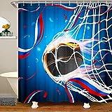 Jungen Rugby bedruckter Stoff Duschvorhang 180x200 Sportthema Wasserdichtes Duschvorhang Textil American Fußball Muster Mit Haken Waschbares blaues Design