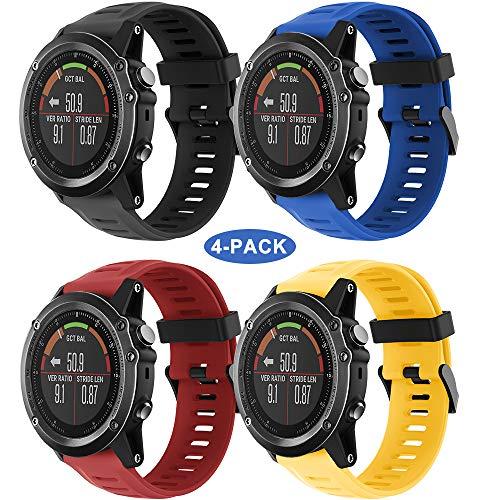 YASPARK Fenix 3 HR Correa, Silicona Bandas 26mm Repuesto Sport Accesorio QuickFit Pulsera para Fenix 3/Fenix 3 HR/Fenix 5X/Fenix 5X Plus/Fenix 6X/Fenix 6X Pro (A)