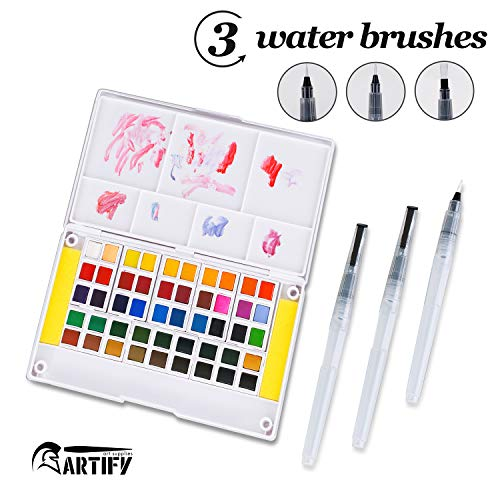 Artify Watercolor Field Sketch Set - 48 Assorted Colors with 3 Brushes - Perfect Watercolor Pan Set for Watercolor Paintings & Cartoons - Mini Travel Watercolor Kit