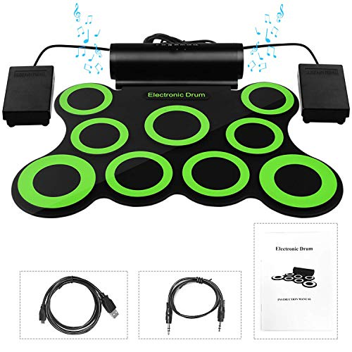 Sunda Electronic Drum Set, Foldable Roll Up Drum Kit with 9 Drum Practise Pads, 2 Foot Drum Pedals, 2 Drum Sticks, Headphone Jack, Best Birthday Christmas Gift for Kids Children Starters