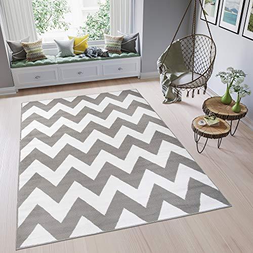 Tapiso Fire Alfombra de Salón Sala Diseño Moderno Blanco Gris Estilo Marroquí Geométrico Zigzag Pelo Corto 300 x 400 cm