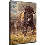 STTYE The Bull on the Plateau simboliza el trabajo duro en el hogar, vintage, lienzo para pared, póster de madera, para arte de pared, imágenes, impresos, lienzo de 61 x 91 cm