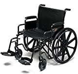 Everest & Jennings Traveler HD Wheelchair, Detachable Full Arms & Swingaway Footrests, 22' Seat, Silvervein Color