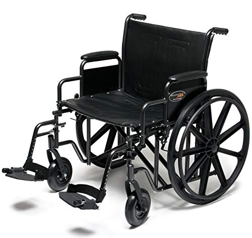 Everest amp Jennings Traveler HD Wheelchair Detachable Full Arms amp Swingaway Footrests 24quot Seat Silvervein Color