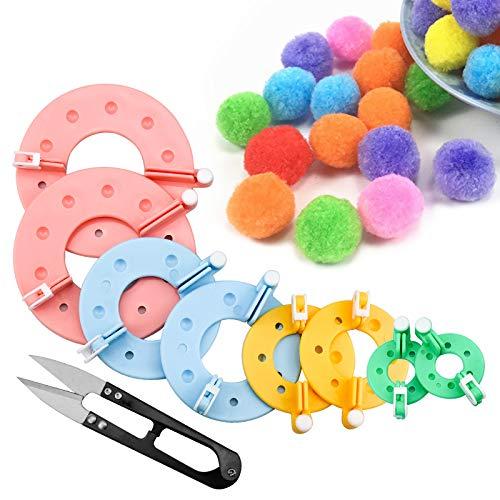 8 Pezzi Pom Pom Maker 9cm 7cm 5.5cm e 3.5cm Pompon Maker Fluff Sfera Weaver Ago Fai da Te in Kit di Attrezzi Lavoro Maglia di Lana