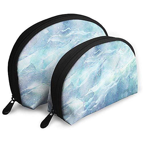 Aquarelle Blue Marble Galaxy Shellfish Sac cosmétique Forme de la Coquille Sacs de Rangement Portables Voyage Pochette de Toilette (y Compris 2 Sac)