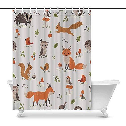 Duschvorhang Nette Waldtiere, Pilze, Beeren & Blätter Dekor Bad Vorhang mit Haken