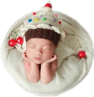 Vemonllas Newborn Baby Photography Props Cake Style Handmade Knitted Hat Headdress for Boys Girls Photo Shoot Beige