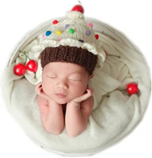 Vemonllas Newborn Baby Photography Props Cake Style Handmade Knitted Hat Headdress for Boys Girls Photo Shoot Beige