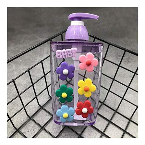 Dispensador de loción Dispensador de jabón historieta creativa Press, bomba de jabón 420ml 14,2 oz de gran capacidad, dispensador de la loción facial limpiador champú, plástico 6.2' ( Color : Purple )