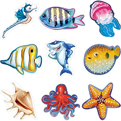45 Pieces Ocean Sea Animal Cutouts Accents Bulletin Board Colorful Versatile Classroom Decoration with Glue Point Dots for School Luau or Under The Sea Fishing Birthday Themed Party, 5.9 x 5.9 Inch