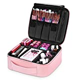 NiceEbag Makeup Bag Travel Cosmetic Bag for Women Cute Makeup Case Large Leather Cosmetic Train Case Organizer with Adjustable Dividers for Cosmetics Make Up Tools Toiletry Jewelry,Rose gold