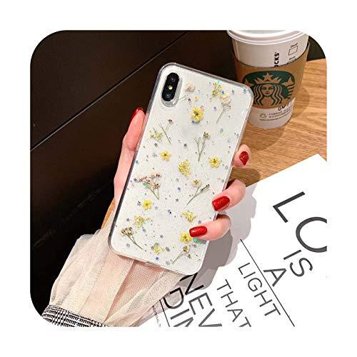 Fundas para iPhone XS 11 Pro MAX XR X XS Max caso para iPhone 11 7 6 6S 8 Plus suave transparente flor cubierta amarillo-iphone 8 Plus